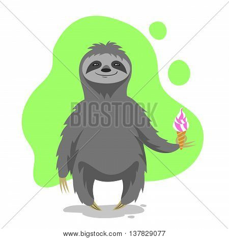 Vector illustration of happy cute sloth holding an ice cream in his hand. Vector print for t-shirt or poster design.