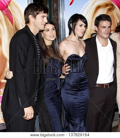 Ashton Kutcher, Demi Moore and Rumer Willis at the Los Angeles premiere of 'House Bunny' held at the Mann Village Theatre in Westwood, USA on August 20, 2008.