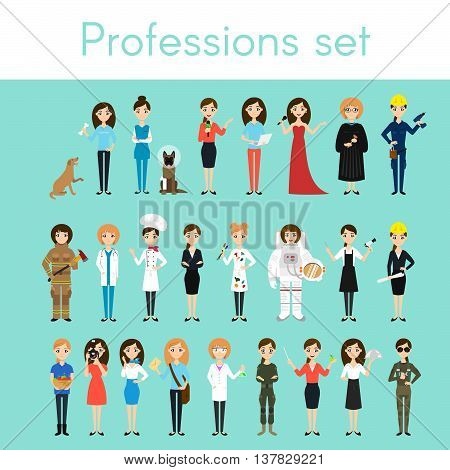 Vector set of different colorful woman professions. Cartoon women characters. Doctor volunteer firefighter waiter judge programmer artist pilot photographer barber astronaut businesswoman.