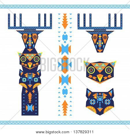 Vector illustration of tribal totem with the heads of deer owl and wolf animal icons.