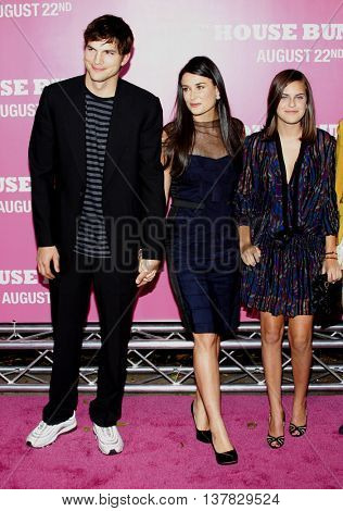 Ashton Kutcher and Demi Moore at the Los Angeles premiere of 'House Bunny' held at the Mann Village Theatre in Westwood, USA on August 20, 2008.