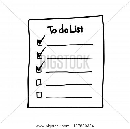 To Do List, a hand drawn vector illustration of a to do list/checklist paper reminder.