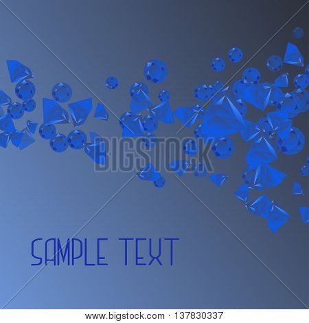 Abstract background with blue geometric figures -crystal of diamonds. Vector illustration for card, print, wallpapers, packaging, greeting