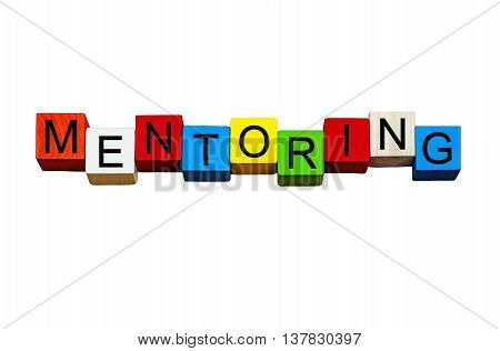 Mentoring - business sign for coaching, mentors, business gurus - design isolated on white background.