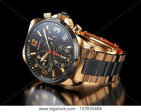 Men`s Golden Wristwatch On Black Background. 3D Illustration