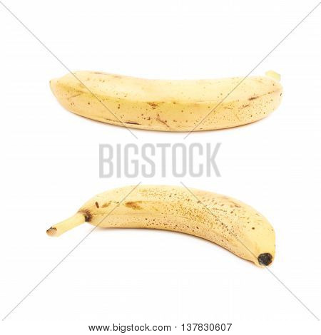 Single spotted banana isolated over the white background, set of two different foreshortenings