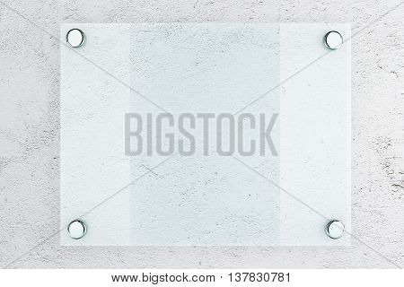 Closeup of blank glass plate on concrete wall background. Mock up 3D Rendering