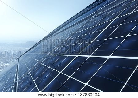 Concept of technology innovations in energy sector. 3D Rendering of solar panels against blue sky. Power plant using renewable solar energy