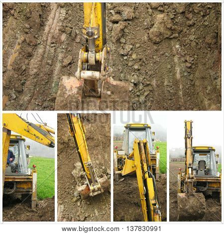 Excavator on construction site collage image in nature environment