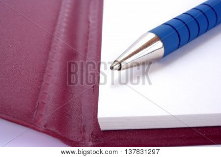 Ballpoint pen lays on a notebook sheet