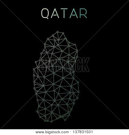 Qatar Network Map. Abstract Polygonal Map Design. Network Connections Vector Illustration.