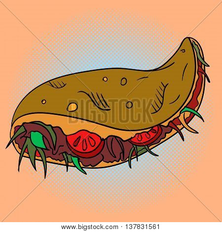 Taco Pop art vector illustration. Beautiful style comic. Hand-drawn Mexican dish