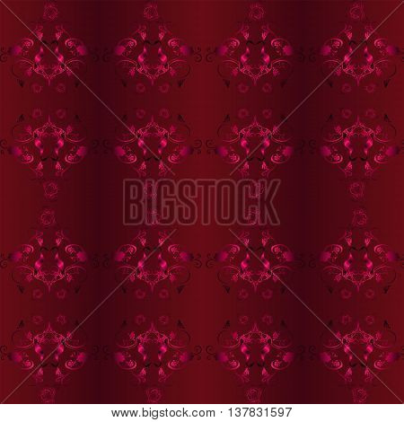 Seamless vector background with Burgundy pattern of the vine and the stork