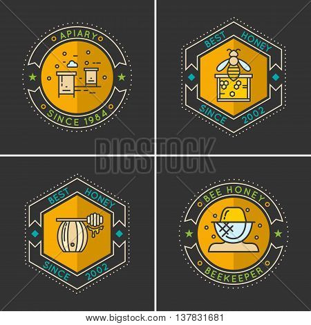 Modern linear emblem for beekeepers. The stickers on the products of the apiary. A set of stylish logos vector bee honey.