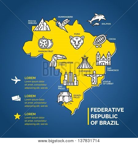 South America infographics for travel. Brazilian culture linear icons. Household items of the people and sights of the country.