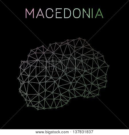 Macedonia, The Former Yugoslav Republic Of Network Map. Abstract Polygonal Map Design. Network Conne