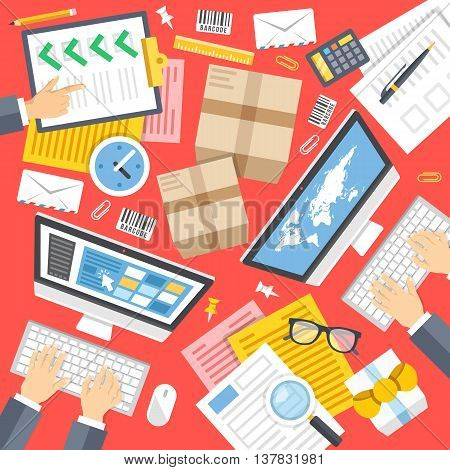 Delivery service, post office, logistics center flat design concepts. Modern graphics elements and icons set for websites, web banners, printed materials, infographics. Top view. Vector illustration