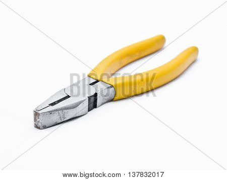 old pliers isolated on a white background