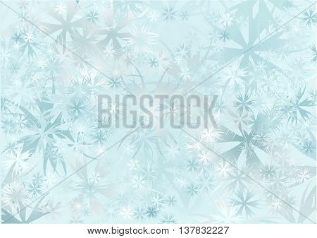 snowfall. abstract blue background with snowflake and lilght