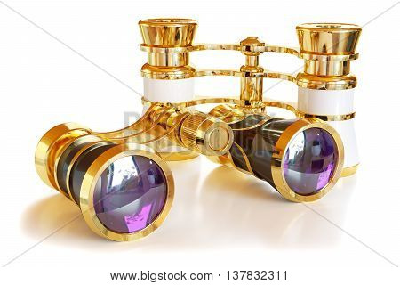 Theatrical golden binoculars isolated on white background 3d