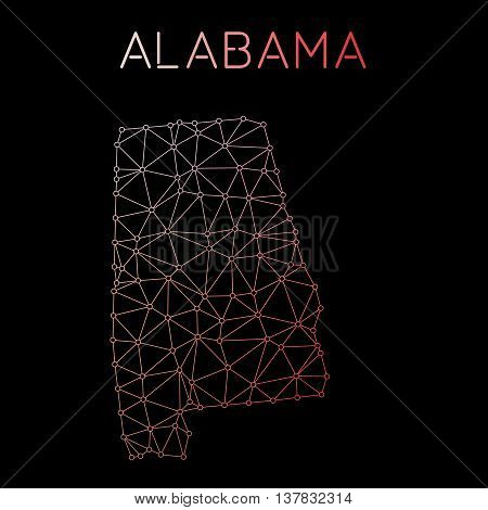 Alabama Network Map. Abstract Polygonal Us State Map Design. Network Connections Vector Illustration