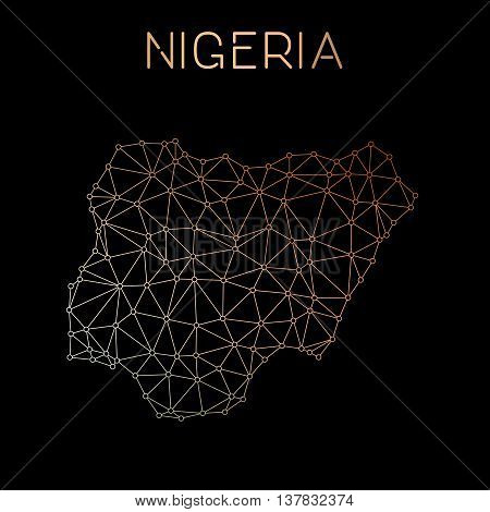 Nigeria Network Map. Abstract Polygonal Map Design. Network Connections Vector Illustration.