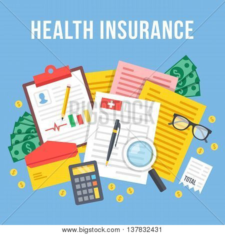 Health insurance, life insurance calculation concept. Top view. Modern flat design graphic elements and icons set for web banners, websites, infographics. Blue background. Creative vector illustration