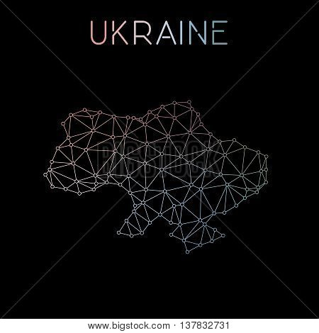 Ukraine Network Map. Abstract Polygonal Map Design. Network Connections Vector Illustration.