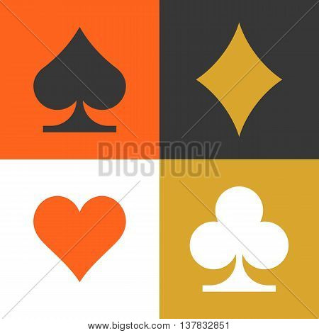 card suits spades , hearts , diamonds and clubs flat icon