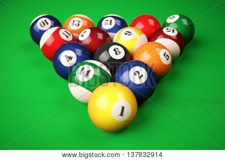 Pyramid Balls Pool Billiard On Green Table. 3D Illustration