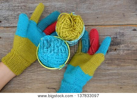 Colorful Knitted Gloves For Cold Day