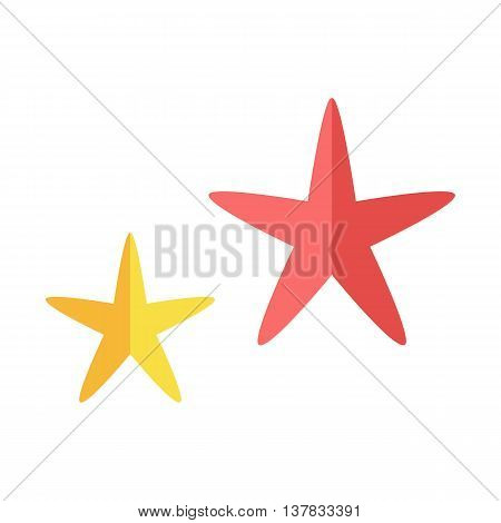 Two multi-colored cheerful cute starfishes on a white background. Red and yellow cartoon starfishes in flat style. Vector illustration