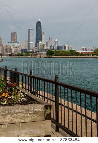 Railing and Planter on Navy Pier in public space in Chicago