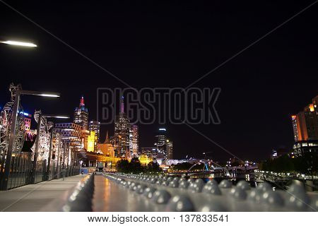 Nightshot of Melbourne from the bridge to the skyline