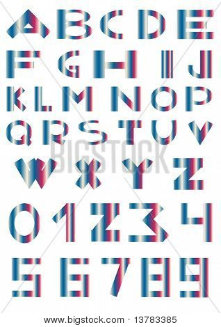 Vector illustration of alphabet and numbers