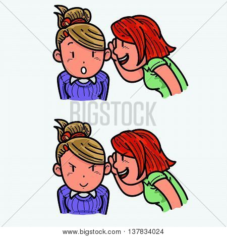 Illustration of two girls whispering about something