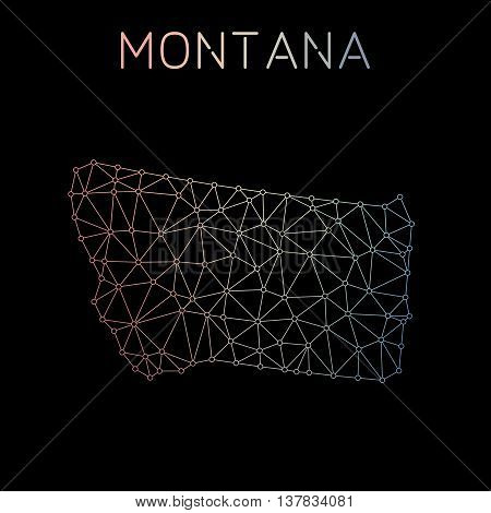Montana Network Map. Abstract Polygonal Us State Map Design. Network Connections Vector Illustration