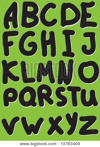Vector illustration of black alphabet on a green background