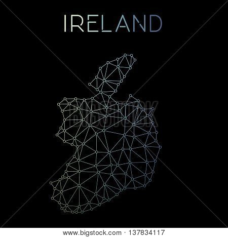 Ireland Network Map. Abstract Polygonal Map Design. Network Connections Vector Illustration.