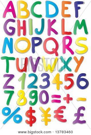 Ilustração em vetor de ímãs de alfabeto, matemática, números, moedas