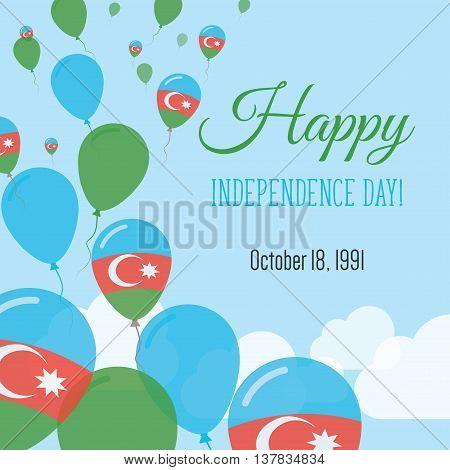 Independence Day Flat Greeting Card. Azerbaijan Independence Day. Azerbaijani Flag Balloons Patrioti