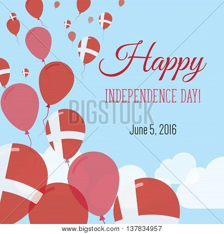 Independence Day Flat Greeting Card. Denmark Independence Day. Danish Flag Balloons Patriotic Poster