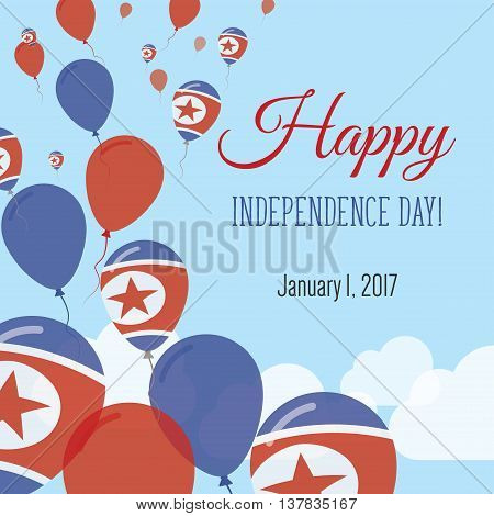 Independence Day Flat Greeting Card. Korea, Democratic People's Republic Of Independence Day. North