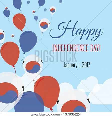 Independence Day Flat Greeting Card. Korea, Republic Of Independence Day. South Korean Flag Balloons
