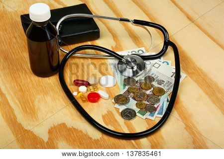 Stethoscope on polish money and wallet on wooden background