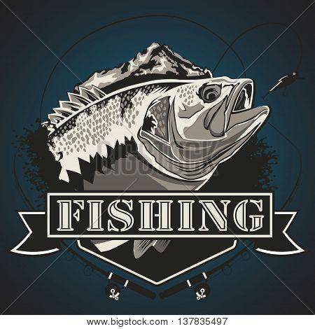 Big Bass Fishing Logo Blue