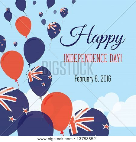 Independence Day Flat Greeting Card. New Zealand Independence Day. New Zealander Flag Balloons Patri