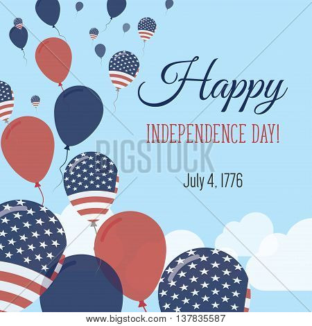 Independence Day Flat Greeting Card. United States Independence Day. American Flag Balloons Patrioti
