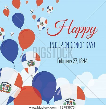 Independence Day Flat Greeting Card. Dominican Republic Independence Day. Dominican Flag Balloons Pa