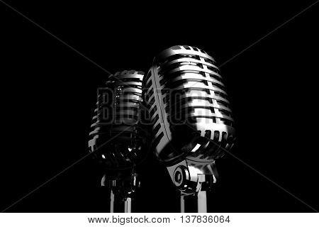 Closeup Silver retro microphone in spot light